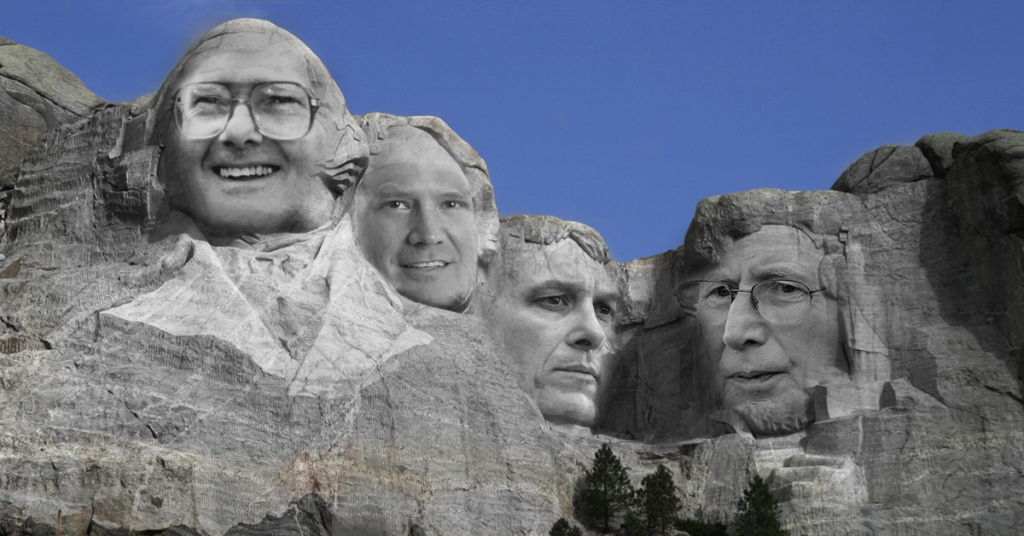 mount rushmore photograph with lamar hunt, bill self, dayton moore, and bill snyder