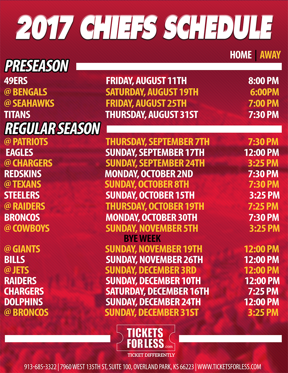 This is a photo of Intrepid Kansas City Chiefs Printable Schedule