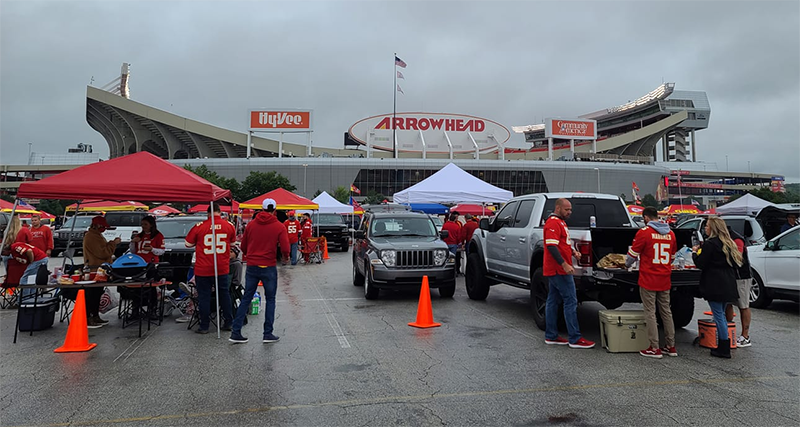 Fans tailgating with their pods at Arrowhead ahead of Chiefs-Texans on 9/10. (Photo courtesy of Melissa Keller Hogan)